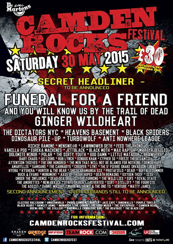 Camden Rocks Festival 2015 Lineup 25Feb15