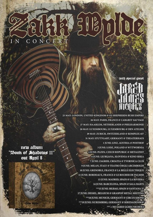 Zakk Wylde 2016 EU Tour Flyer