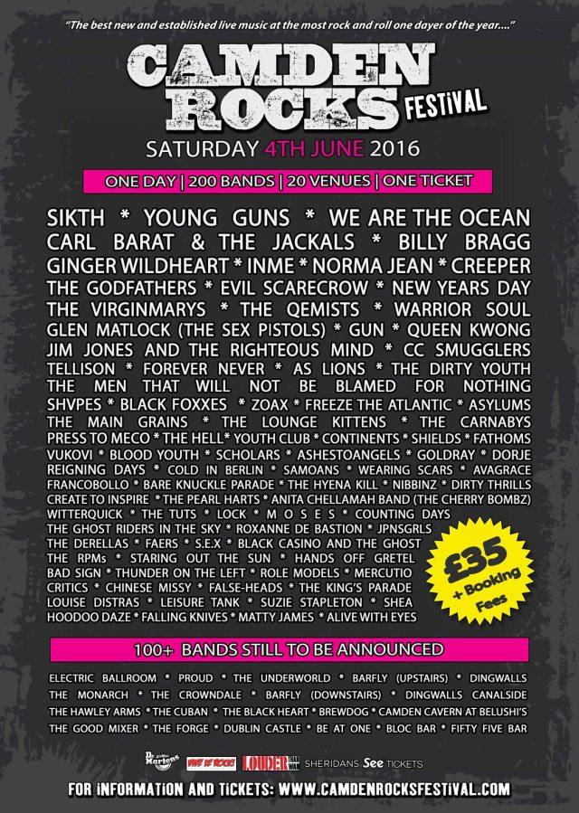 Camden Rocks 2016 Poster No2