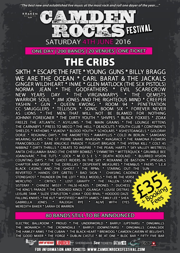 Camden Rocks 2016 Poster - 6th April